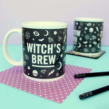 Witch's Brew Mug. Witch's Mug. Potions Mug. Witchcraft and Wizardry. Witch Mug. Gothic Mug. Pentagram Mug. Halloween Mug. Literary Gifts.