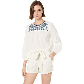 Lucky Brand Women's White Embroidered Peasant Top Sp