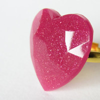 "Glitter PINK ""Brilliant Cherry"" HEART resin RING. Glitterring heart ring"
