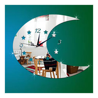 Moon Wall Clock Creative Mirror Kid Room Decoration   silver