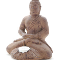 Stone Meditating Buddha Statue and Lotus Flower Tea LIght Holder