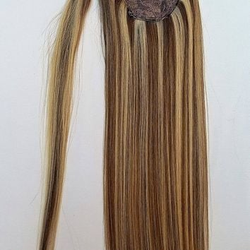 18inches Highlighted 100% Human Hair, Wrap Around Ponytail Hair Extensions # 6/613 Medium Chestnut Brown with Platinum Blonde
