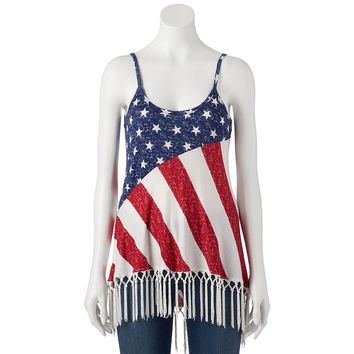 Freshman Slubbed Fringe Shirttail Tank Top - Juniors, Size: