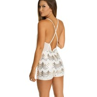 Ivory Party Up Sequin Romper