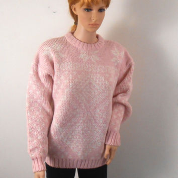 Women's Pink Sweater -  Pink and White Acrylic and Wool Sweater Top -  River Trader -  New With Tags - Size Medium - Free US Shipping