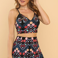 Take Me Away Co-ord Set - Black Floral