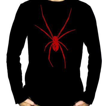 Red Print Black Widow Spider Men's Long Sleeve T-Shirt Horror