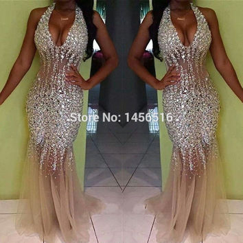Dressy New Star 2017 Shining Halter Mermaid Prom Dresses See Through Formal Party Gowns Vestido De Noche Longo 1612232W