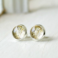 gold dust sparkling silver plated post earrings, silver studs