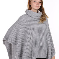 Gray Turtleneck Knitted Poncho