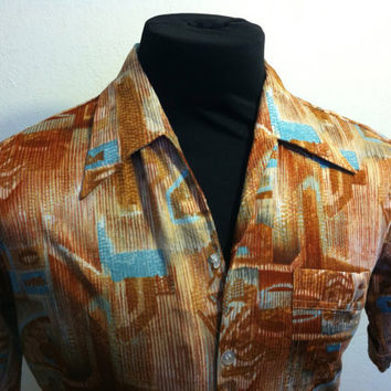 1970's Joel California Polyester Retro Copper Brown and Blue Design Mens Shirt