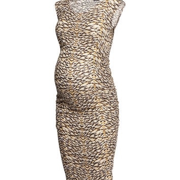 H&M - MAMA Lyocell Dress - Beige/patterned - Ladies