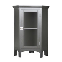 Dark Espresso Corner Bathroom Floor Cabinet Table with Glass Doors