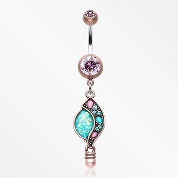 Vintage Boho Opal Sparkle Journey Belly Button Ring