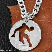 Basketball Player Necklace, hand cut coin jewelry