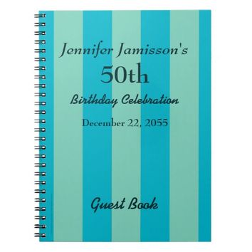 50th Birthday Party Guest Book Blue & Green Stripe