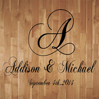 Wedding Monogram Dance Floor Decal Reception Vinyl Wall Decal Lettering Decor