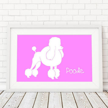 Poodle Silhouette Modern Dog Print - Custom Wall Art, Personalized Dog Print, Modern Dog Home Decor, Dog Portrait, Dog Art, Dog Lovers