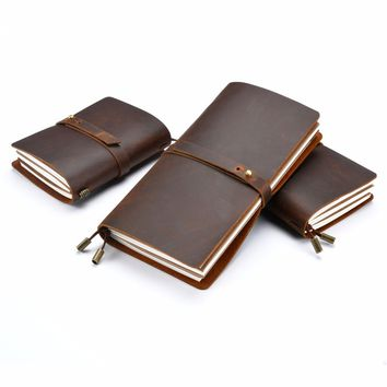 Moterm Genuine leather notebook Travelers notebook Memo pad Vintage retro personal diary Refillable journal School supplies