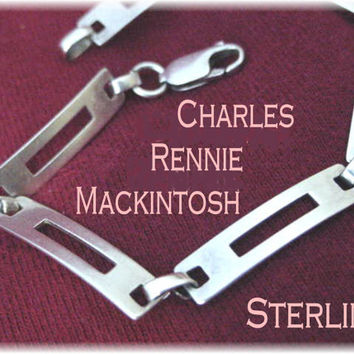 Charles Rennie Mackintosh ~ Scottish Art Nouveau Modernist Sterling Silver Bracelet - Carrick Jewellery - FREE SHIPPING