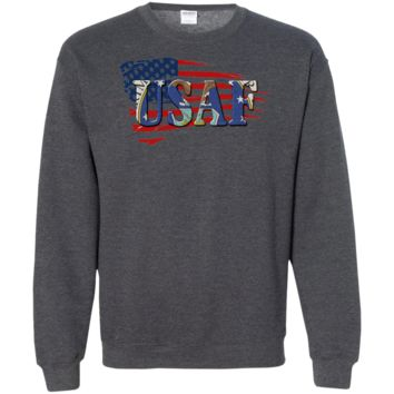 UNITED STATES AIR FORCE: FLAG LOGO : G180 Gildan Crewneck Pullover Sweatshirt  8 oz.