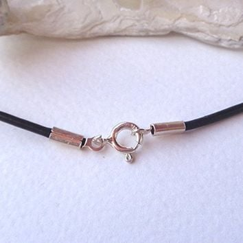 50 cm long Necklace Black Leather round cord 2mm with 925 Sterling Silver closures,spring ring