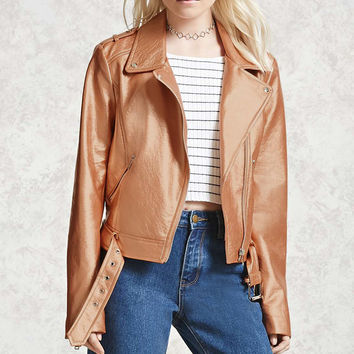 Sheeny Faux Leather Moto Jacket