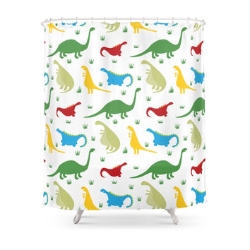 Society6 Dinosaur Parade Shower Curtains