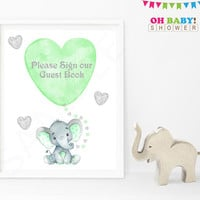 Guest Book Sign, Elephant Baby Shower Guest Sign In, Mint and Gray, Please Sign our Guestbook Sign, Printable Baby Shower, 8x10, ELMG