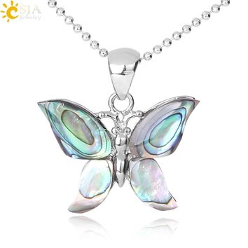 CSJA Butterfly Fashion Natural Abalone Shell Beads Pendant & Necklace for Women Girls Gift Female Daily Neck Jewellery F294