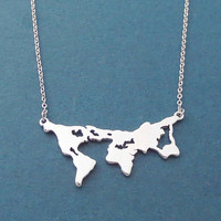 World map, Gold, Silver, Necklace, Map of the world, Travel, Ambition, Necklace, Birthday, Best friends, Sister, Gift, Jewelry