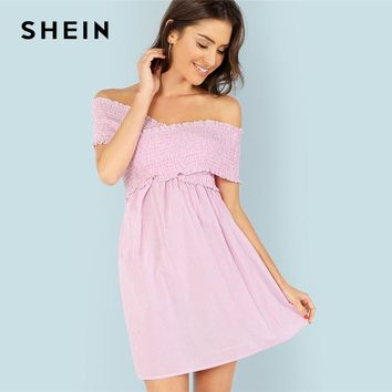 SHEIN Criss Cross Frilled Pinstripe Swing Dress Pink Off Shoulder Backless High Waist Dress Women Summer Beach Vacation Dresses