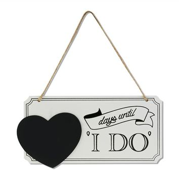 "LEORX ""days until I DO"" Wooden Chalkboard Sign Vintage Wedding Countdown Sign"