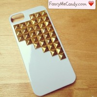 iPhone 5 White & Gold Studs