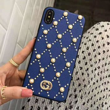 GUCCI Stylish Women Delicate Pearl Mobile Phone Shell iPhone Phone Cover Case For iphone X iphone 8 8plus iPhone6 6s 6plus 6s-plus iPhone 7 7plus Blue