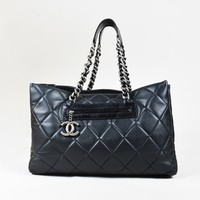 "Chanel Black Quilted ""Softened Caviar"" Leather ""Coco Casual"" Tote Bag"