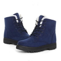 Blue Suede Winter Boots