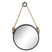Round Decorative Wall Mirror with Rope Hanger - A&B Home