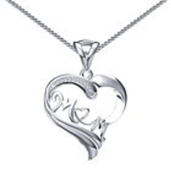 HEART SHAPED MOM Pendant Necklace in Sterling Silver