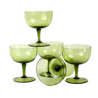 Coupes, Hand Blown Glass in Avocado Green, Vintage