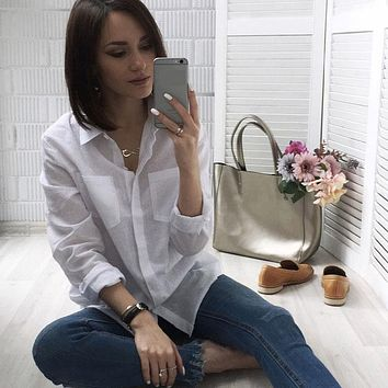 5XL Casual Women Loose Brand Shirt Turn-Down Collar Long Sleeve Pocket White Shirts Mujer Tops Plus Size Camisas Femininas