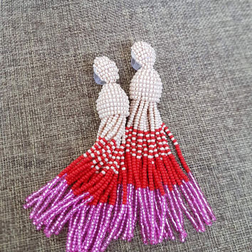 Summer Sale Ombret tassel earrings, Beaded earrings in Oscar de La Renta style, long tassel beaded , oscar de la renta tassel earrings