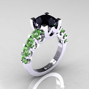Modern Vintage 14K White Gold 3.0 Carat Black Diamond Green Topaz Designer Wedding Ring R142-14KWGGTBD