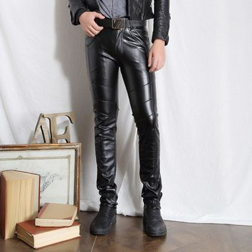 Male Black Leather Pants Super Skinny Motorcycle Biker Faux Leather Pu Trousers For Men