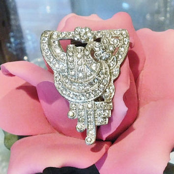 1930s Art Deco Fur Dress Clip Rhinestone Pave Paste Antique European French Style Jewelry High Fashion Wedding Bride Bridal Christmas