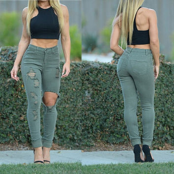 Women Fashion Ripped Destroyed Jeans Skinny Slim Jeans Denim Pants Casual Black White Olive Green = 5708426689