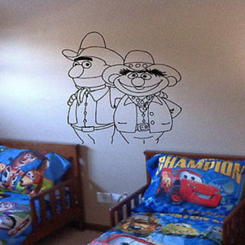 Ernie and Bert Sesame bedroom Children's room Wall Art Decal Stickers tr649