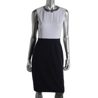 BCBG Max Azria Womens Colorblock Sleeveless Wear to Work Dress