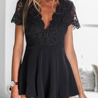 Black Lace Panel Cut Out Back Short Sleeve Romper Playsuit