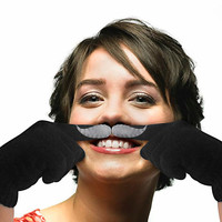 Finger Moustache Gloves, Dark Grey Gloves, Grey Felt Moustache, Christmas Gift
